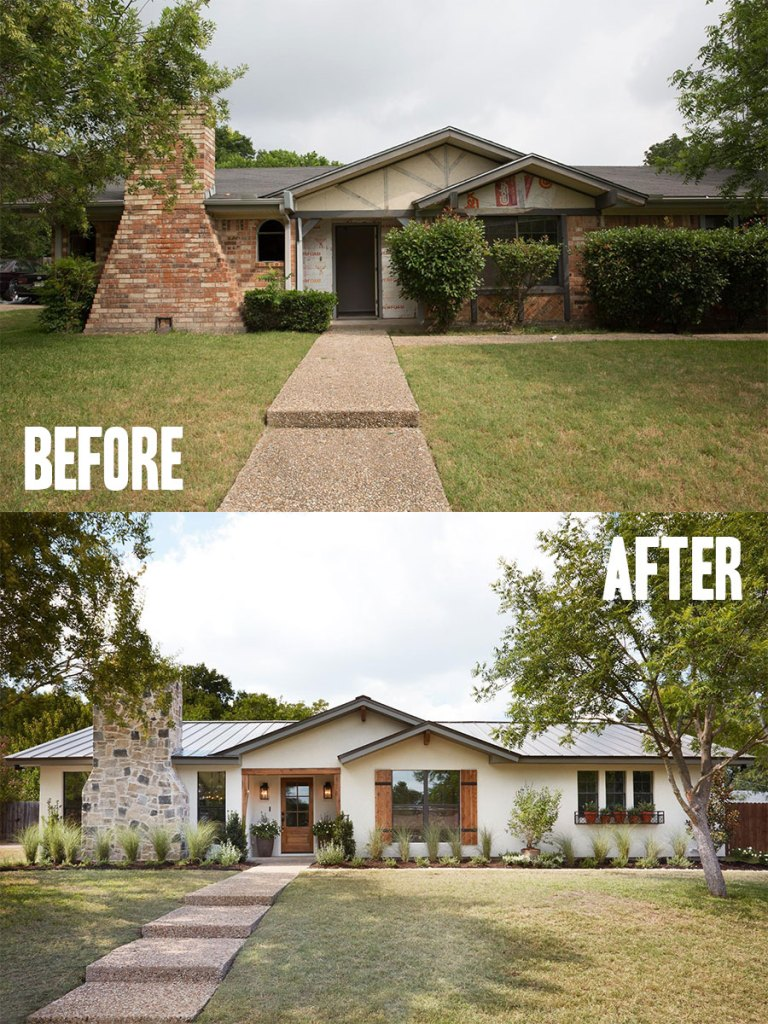 Best House Exterior Renovations By Joanna Gaines; Here are the best before and after reveals on the show Fixer Upper. House Front, Curb Appeal and Home Front. || Southern House, Bungalow,  paint, landscaping redo