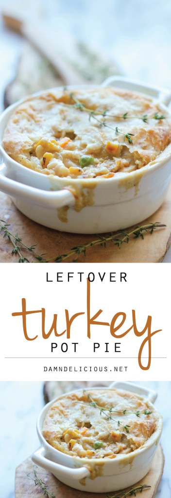 Easy Leftover Turkey Recipes; Not sure what to do with your leftover turkey from the holidays? Try these 15 easy and delicious recipes to avoid waste and keep you turkey stuffed! Turkey Pot Pie #leftoverturkey #potpie