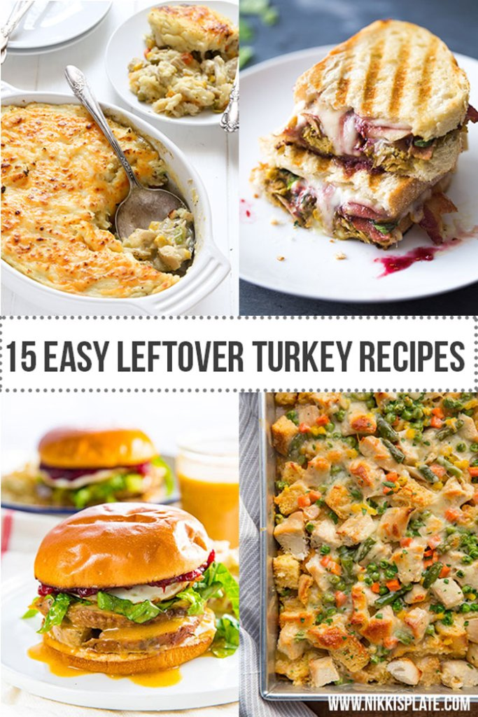 Easy Leftover Turkey Recipes; Not sure what to do with your leftover turkey from the holidays? Try these 15 easy and delicious recipes to avoid waste and keep you turkey stuffed! #leftoverturkey