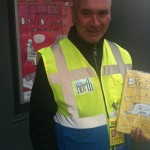 Colin selling David Shrigley Big Issue Magazines
