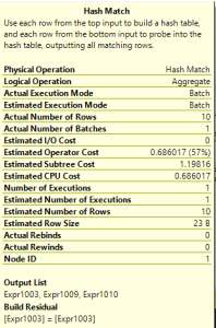 Batch Execution Mode for Hash Match