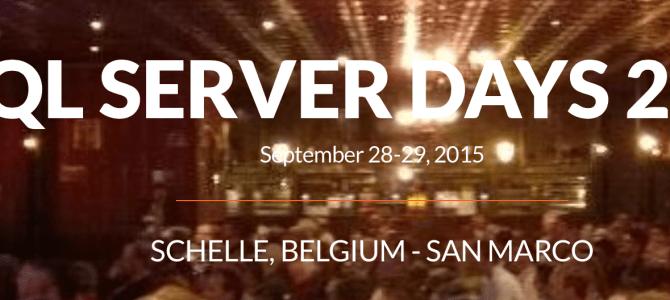 Speaking at SQLServerDays 2015 in Belgium