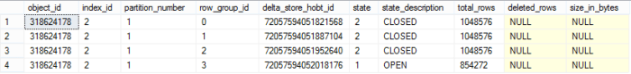 4 Row Groups loaded into Nonclustered Columnstore