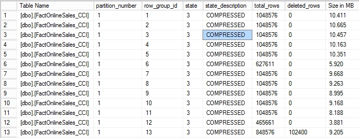 CCI - Row Groups Details with another 102400 deleted rows