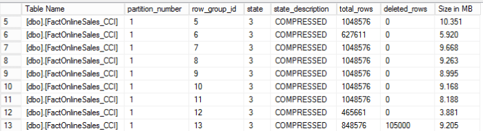 CCI - Row Groups Details with another 105000 deleted rows