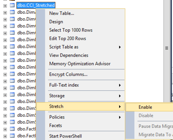 Enable Stretching CCI on Clustered Columnstore