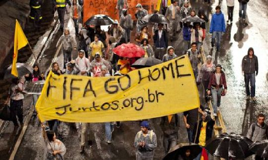 Protests against the upcoming World Cup in São Paulo this month.