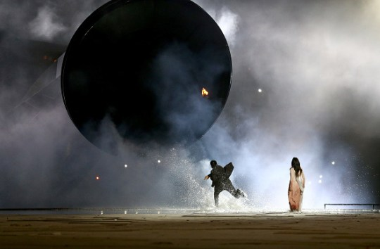 BAKU, AZERBAIJAN - JUNE 12: A ring of fire ignites representing a total solar eclipse ignites during the Opening Ceremony for the Baku 2015 European Games at the Olympic Stadium on June 12, 2015 in Baku, Azerbaijan. (Photo by Francois Nel/Getty Images for BEGOC)