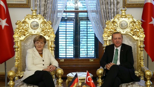ISTANBUL, TURKEY - OCTOBER 18: German Chancellor Angela Merkel (L) meets Turkey's President Recep Tayyip Erdogan at the Yildiz Istanbul, Turkey