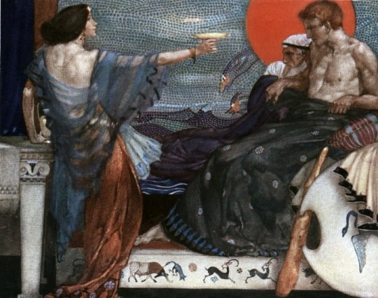 Medea, offering the poisoned cup to Theseus, who sits beside his father, King Aegeus. Painting by William Russell Flint (1880-1969).