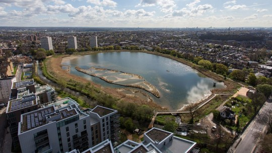 LONDON, ENGLAND - APRIL 28: A general view of Woodberry Wetlands in the Borough of Hackney on April 28, 2016 in London, England. The Wetlands, created by Thames Water and London Wildlife Trust, is on the site of working reservoir, originally constructed in 1833 is home to a variety of wildlife including Kingfishers, reed warblers, bees and dragonflies. Woodberry Wetlands wildlife reserve opens to the public on May 1st, 2016. (Photo by Rob Stothard/Getty Images)