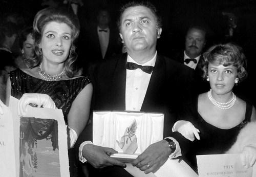 Μελίνα Μερκούρη, Ζαν Μορώ,Φεντερίκο Φελίνι, Cannes, Mercouri, Felini