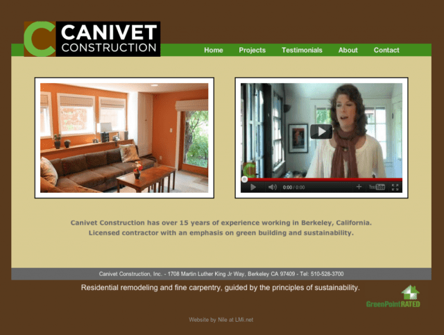 Canivet Construction home page