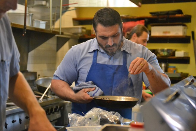 Chef Nick Novello in The Skillet Diner kitchen.