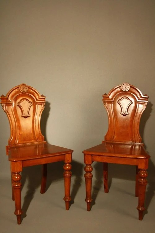 Victorian Mahogany Pair of Hall Chairs