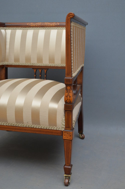 Excellent Edwardian Mahogany and Inlaid Armchair