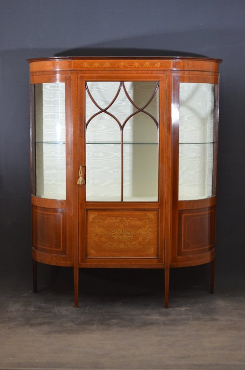 Elegant Edwardian Inlaid Display Cabinet