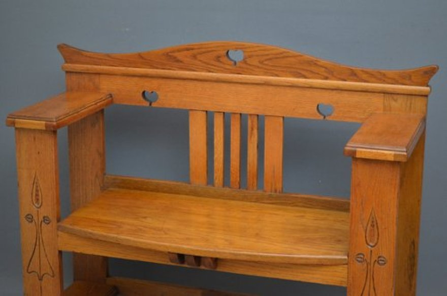 Arts and Crafts Oak Bench. SOLD