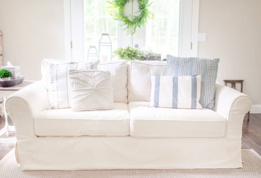 pottery barn sofa review leather power reclining uk slipcovered pb comfort because i love have purchased other big ticket items from there with positive interactions customer service when needed and