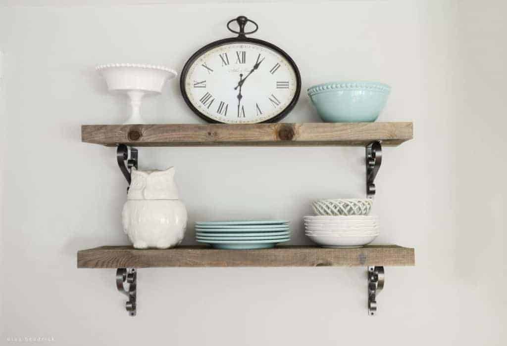DIY Rough Cut Weathered Pine Kitchen Shelves An Easy