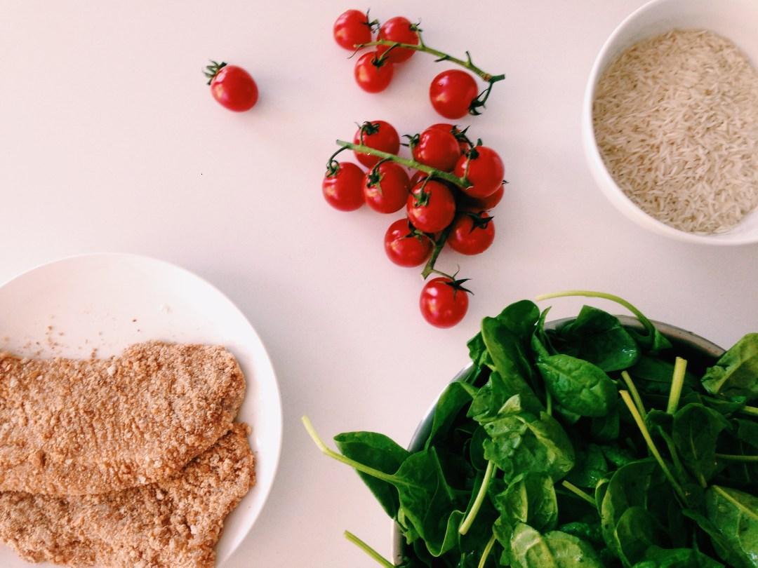 Krokante kalkoen met spinazie in mostercréme