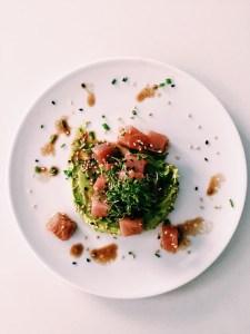 Tonijn met avocado-wasabicrème