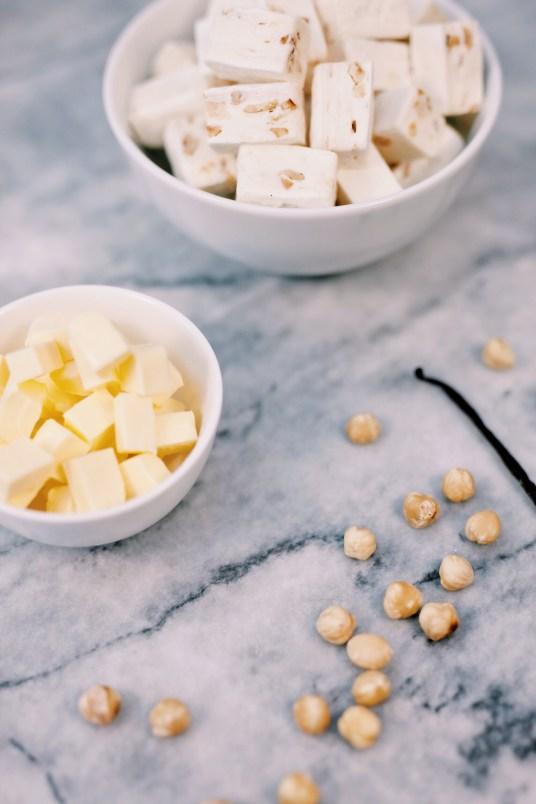 Crunchy nougat pasta met vanille