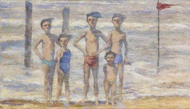 Gianpaolo Talani Cinque ragazzi sulla battigia