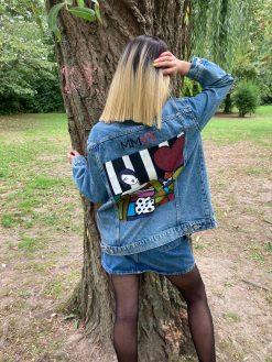 custom cubique sur jacket denim