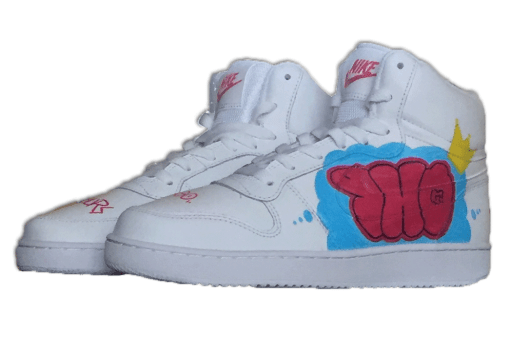 custom on white sneakers with throw up on the side