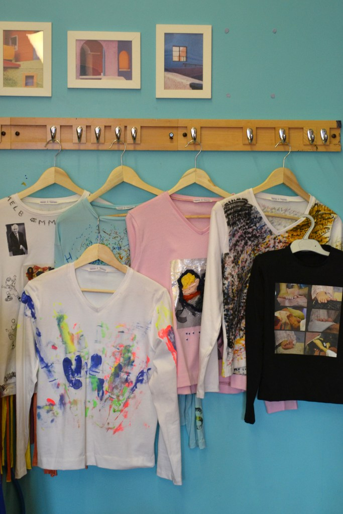 The T-shirt designs created by the deafblind participant group