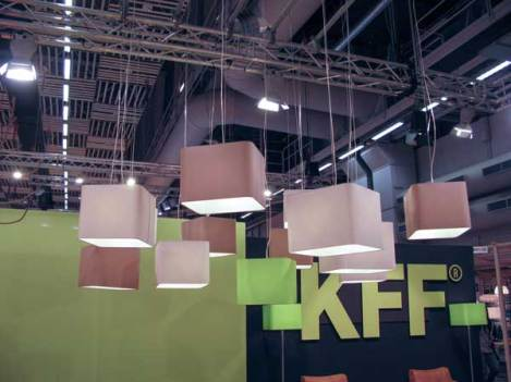 Square ceiling lamps. Nice idea. Usually these kinds of lamps are round.