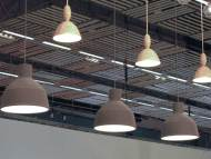 Close up of the pendants. Ikea has a similar one for a fraction of the price. This is the Muuto model.