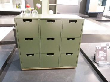 "Chest of drawers ""Snow"", now in green"