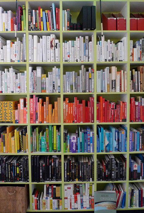 colorsortedbooks, bookcase, books