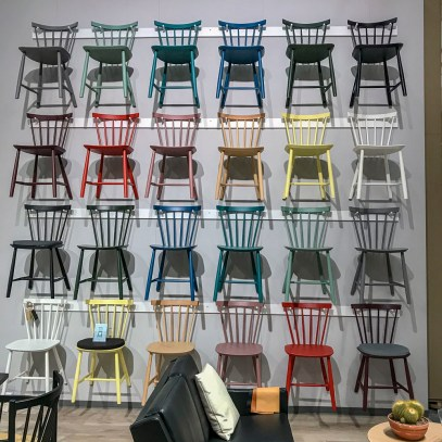 wall full of chairs.