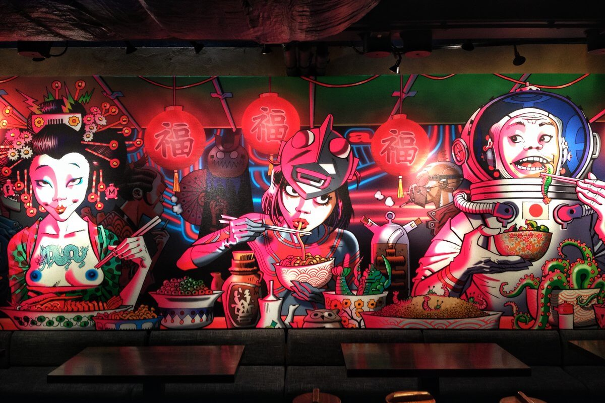 Download this cool cyberpunk wallpaper from jamie hewlett shochu lounge mural jamie hewlett wallpaper voltagebd