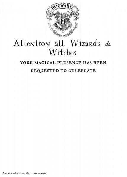 hogwarts birthday invitation template