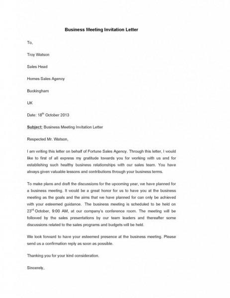 invitation letter for business meeting