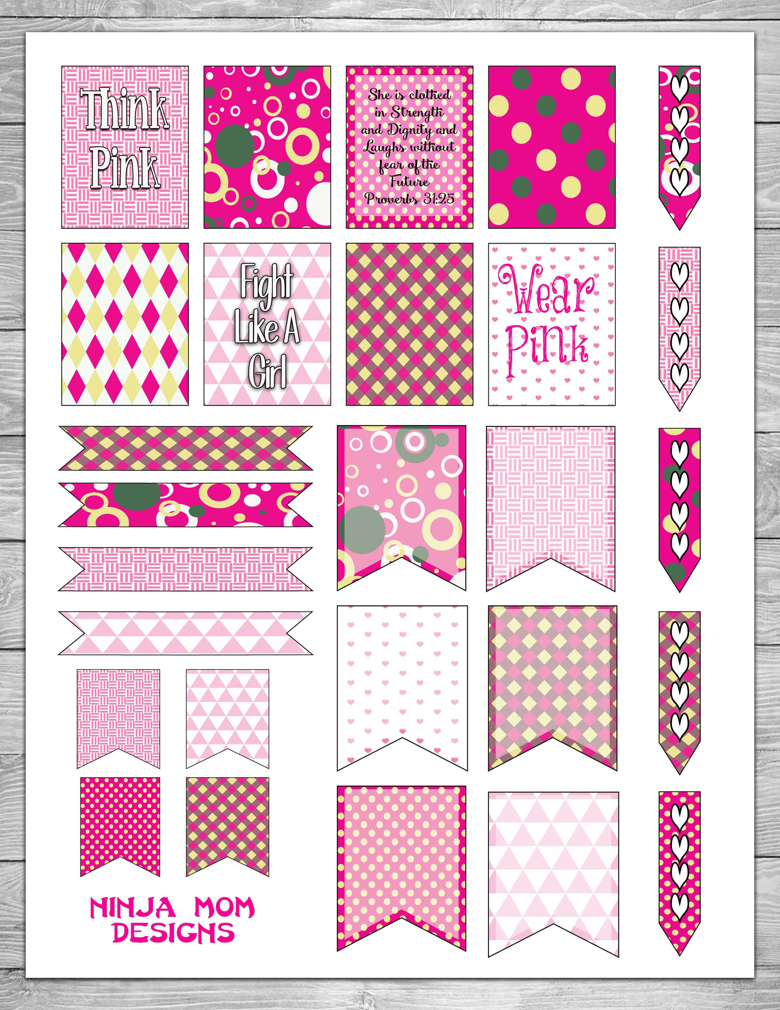 {FREE} Breast Cancer Awareness Planner Sticker Printable
