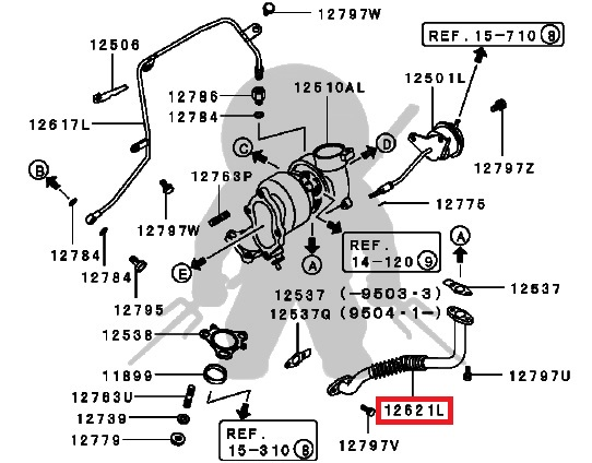 Mitsubishi Oem 3000gt Stealth Turbo Oil Return Line Rear