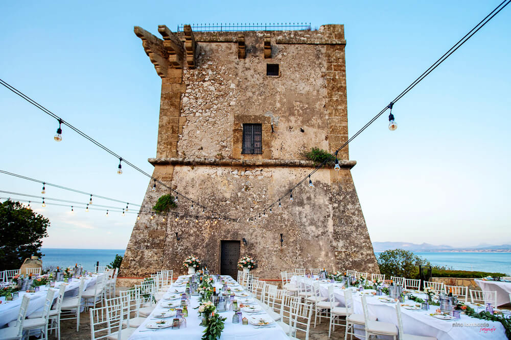 Event in the Torre Doria del Fotografo, wedding in Sicily