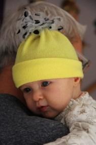 Bonnet bébé jaune en tulle