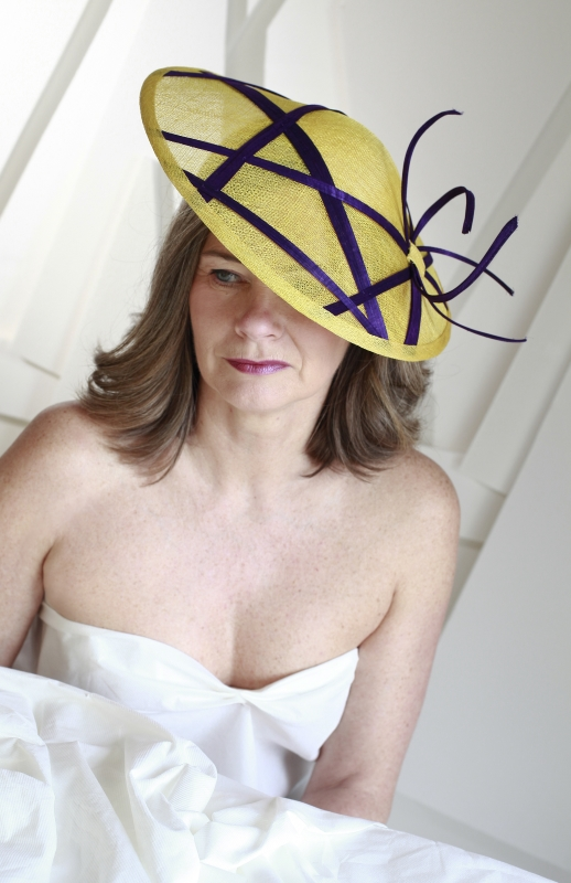 Serre-tête PLEINE LUNE jaune et violet Ninou Laroze