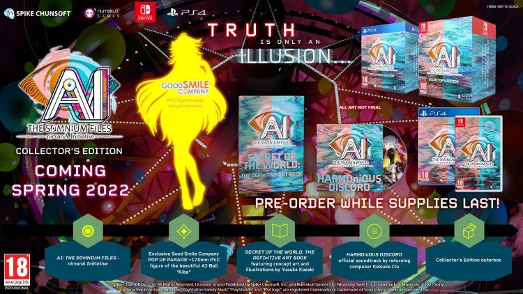 [HOT] : Die physischen Standard- und Sammlereditionen von AI: The Somnium Files - nirvanA Initiative für Nintendo Switch und PS4 werden im Frühjahr 2022 von Just For Games in Frankreich vertrieben