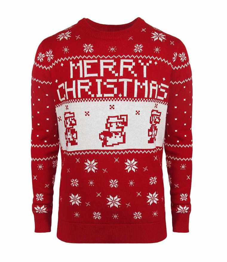 super-mario-bros-three-plumbers-leaping-christmas-sweater-photo
