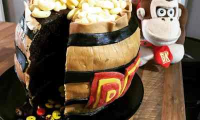 Donkey Kong Barrel Cake