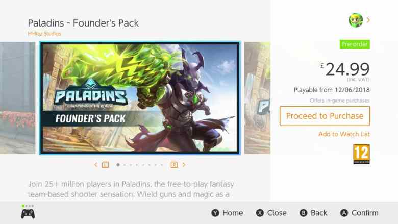 Paladins Founder's Pack Nintendo Switch Screenshot