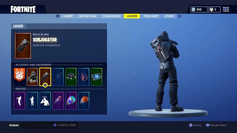Fortnite Subjugator Back Bling Screenshot