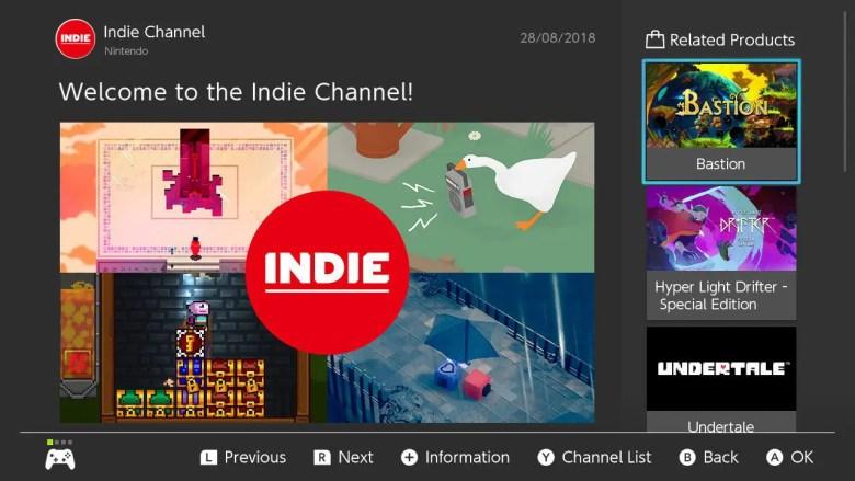 Nintendo Switch Indie Channel Screenshot